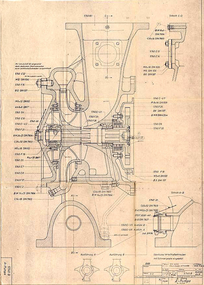 A-Pumpe zur Turbopumpe nach Zeichnungsnummer 5800 A Blatt 1 und 2 (Montagezeichnung)
