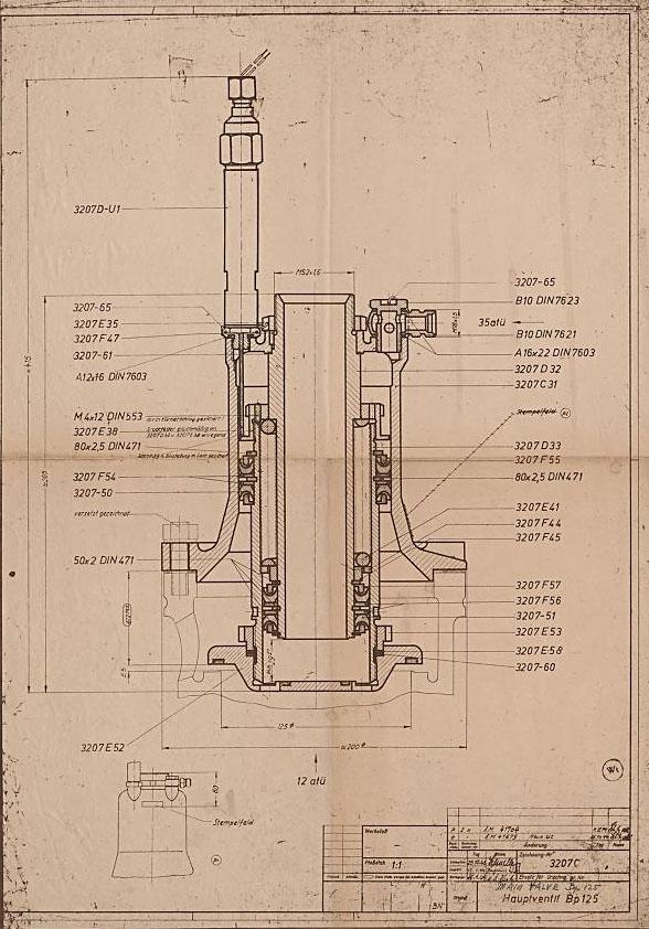 V2 rakete drawing number 3207C fuel valve