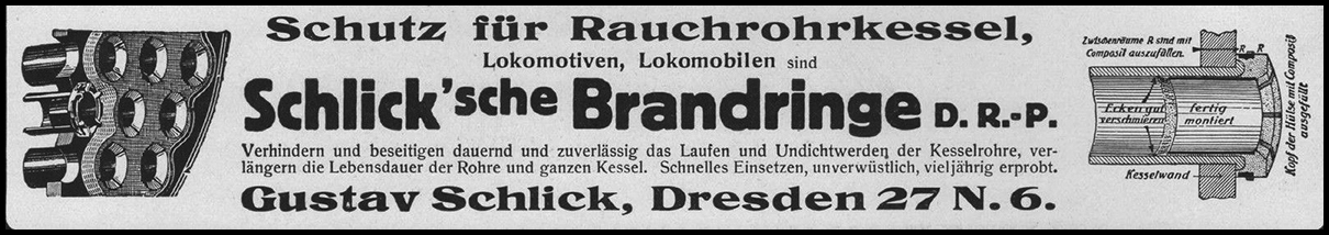 Industrial magazine advert for Gustav Schlick 1918