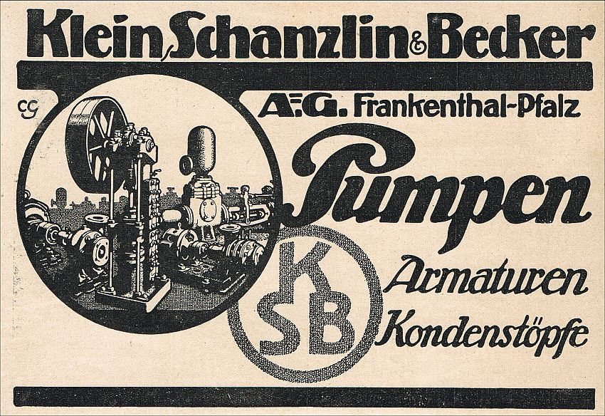 1930s Trade advert for Klein Schanzlin & Becker