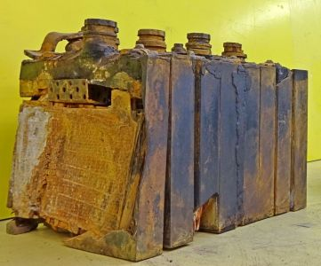 Remains of 36 volt battery cells used on the V2 to power onboard equipment. ©THBC