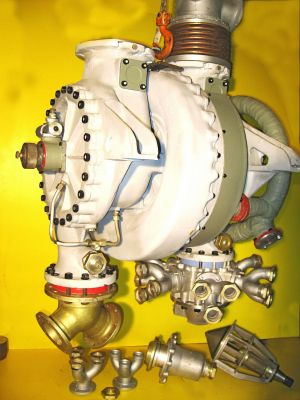 A4-V2 Turbo-pump showing outlet flow modification chokes. ©THBC