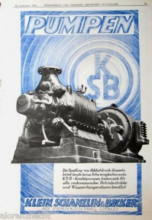 Klein Schanzlin & Becker centrifug-pump advert
