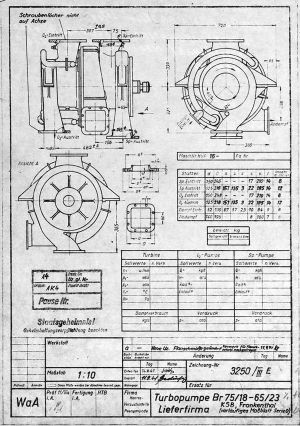 Turbopump Lieferfirma KSB, Frankenthal (vorläufiges Maßblatt Serie 0)