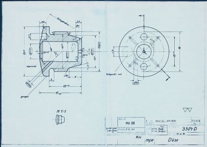 A4/V2 rocket Düse or nozzle drawing from 1944